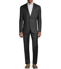 boss hugo boss men's classic-fit johnstons & lenon virgin wool suit - dark grey - size 44 l