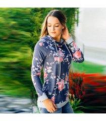 vintage floral print hooded sweatshirt european long sleeve pullover casual