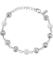 2028 silver-tone crystal fireball and filigree beaded bracelet