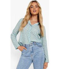 getailleerde blouse met stippen, mint