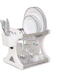 escorredor de pratos domum em inox capacidade para 12 pratos branco
