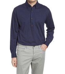 men's alton lane harris tailored fit popover shirt, size x-large - blue