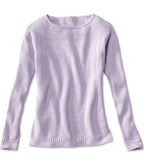 cotton/cashmere boatneck sweater, lilac, x large