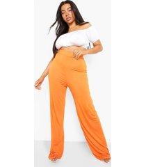 plus wide leg broek met hoge taille, orange