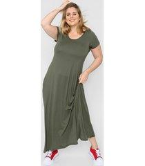 vestido verde minari bolsillos plus size