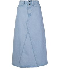 proenza schouler white label a-line denim skirt - blue