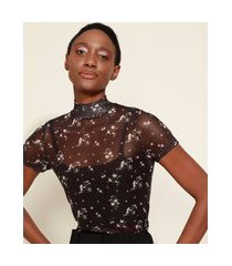blusa de tule feminina mindset estampada floral manga curta gola alta preta