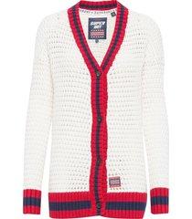 varsity spirit crochet cardigan stickad tröja cardigan vit superdry