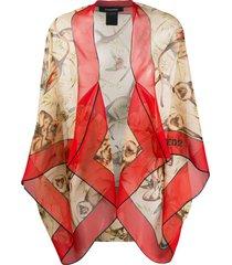 dsquared2 macaque-print chiffon shawl - neutrals