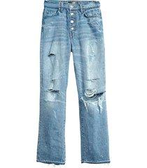 crystal studded straight jean
