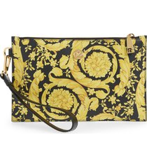 men's versace small barocco leather zip pouch - yellow
