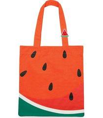 sunnylife watermelon cotton canvas tote