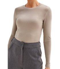 women's 4th & reckless maye long sleeve bodysuit, size small - beige