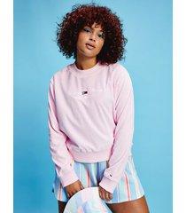 tommy hilfiger women's curve organic cotton velour sweatshirt romantic pink - 3xl