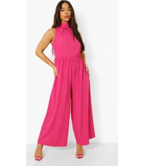 wide leg culotte jumpsuit met hoge hals en laagjes, hot pink