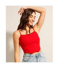 regata cropped corset alça fina decote redondo vermelha