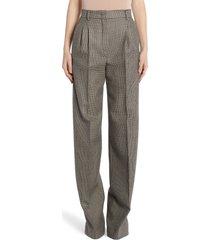 women's fendi pixel pleated wool pants, size 4 us - grey