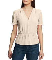 women's 1.state circle trim peplum blouse, size x-small - orange