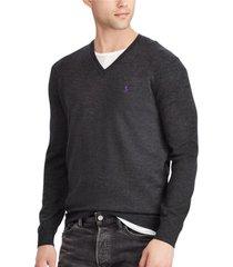sweater slim washable merino gris polo ralph lauren