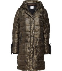 long coat in faux down look w. camo fodrad rock grön coster copenhagen