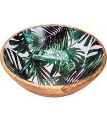 saladeira bon gourmet de madeira leafage verde/madeira - kanui