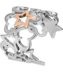 anello stella in acciaio bicolore per donna