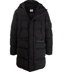 c.p. company black softshell fabric padded coat