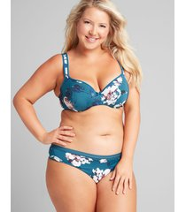 lane bryant women's no-show thong panty 12 legion blue floral