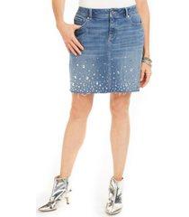 inc curvy-fit rhinestone-embellished denim skirt, created for macy's