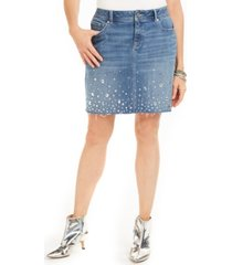 inc curvy-fit rhinestone-embellished denim skirt, created for macy's
