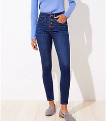 loft curvy high rise slim pocket skinny jeans in staple dark indigo wash