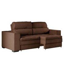 sofá 2 lugares retrátil e reclinável montevideo suede marrom