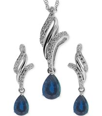 sapphire (1-1/10 ct. t.w.) and white topaz (3/8 ct. t.w.) jewelry set in sterling silver