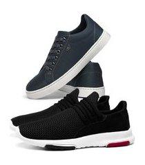 kit tênis caminhada esporte sneakers preto + sapatenis skateboard casual leve azul