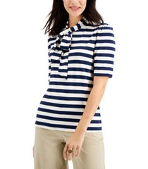 charter club petite striped tie-neck top, created for macy's