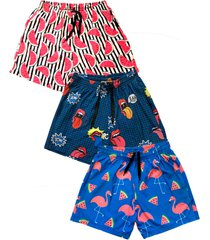 kit 3 shorts praia j10 estampado microfibra com elastano bolsos nas laterais multicolorido