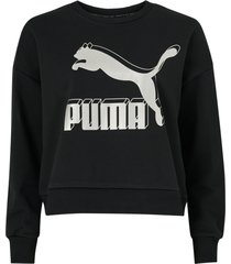 sweatshirt classics logo metallic crew