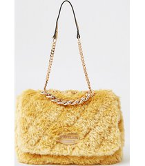 river island womens yellow faux fur quilted shoulder bag
