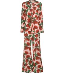 adriana degreas fiore floral deep v-neck jumpsuit - pink