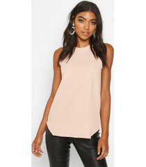 tall high neck strap top, nude