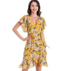vestido vuelos floral amarillo nicopoly
