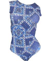 maio garota de luxo beachwear com tradicional azul zigzag - azul - feminino - dafiti