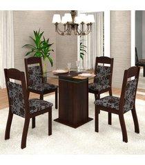 mesa de jantar 4 lugares mirela zara ameixa/cobre - viero móveis