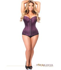 plus size corsets - top drawer plum brocade steel boned corset