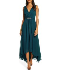 women's eliza j embellished high/low chiffon dress