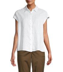 pure navy women's short-sleeve linen shirt - lucia stripe - size m