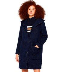 abrigo con lana y capucha azul marino esprit