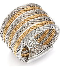 18k white gold & stainless steel cable ring