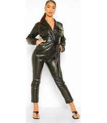 faux leather pu wrap belted boiler jumpsuit, black