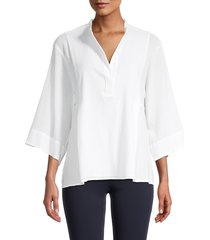 vince women's lightweight panelled popover top - optic white - size xl